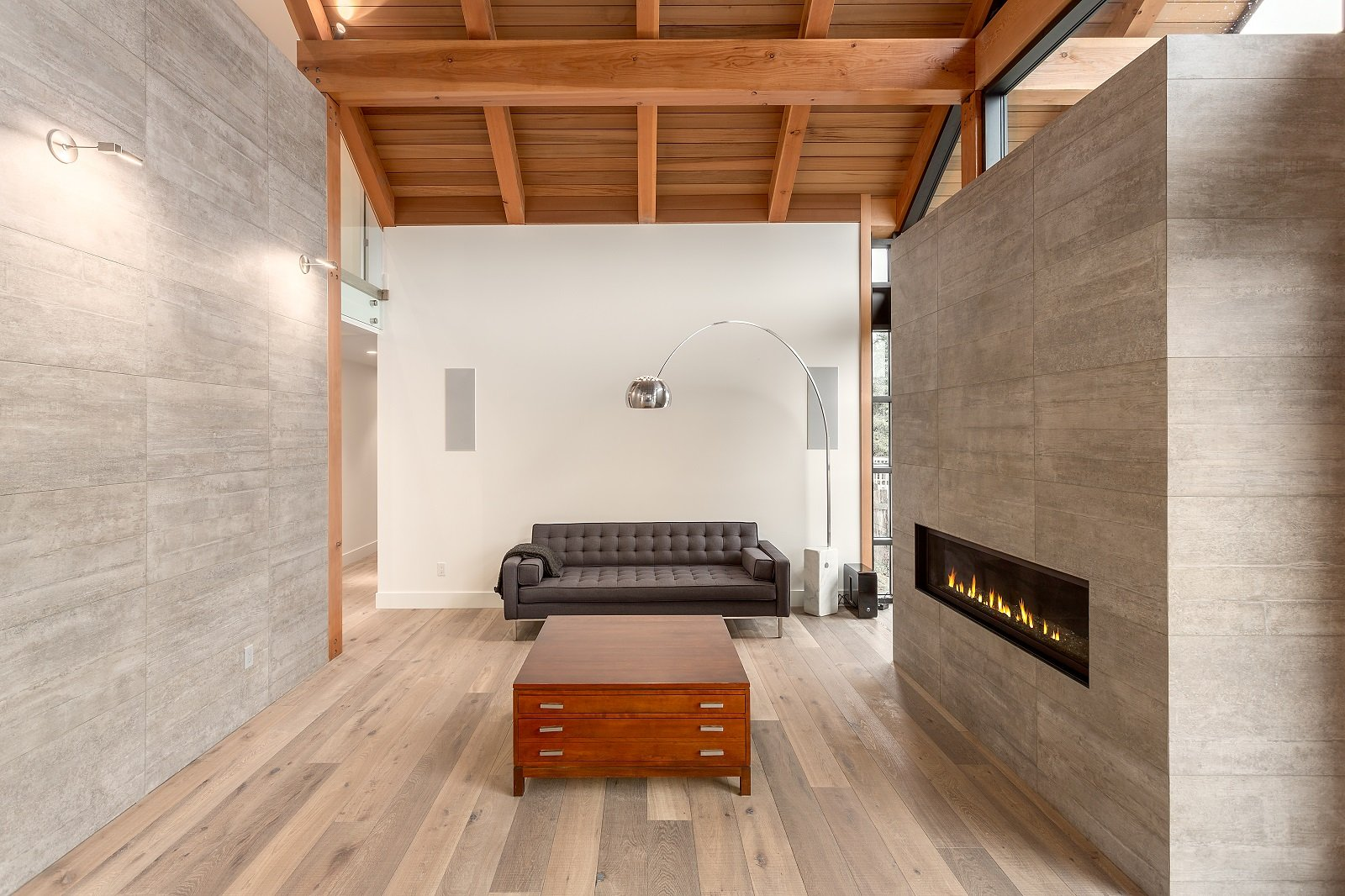 Whistler Custom Home by Coast Construction. Living room and fireplace of Roslyn Boulevard Home.