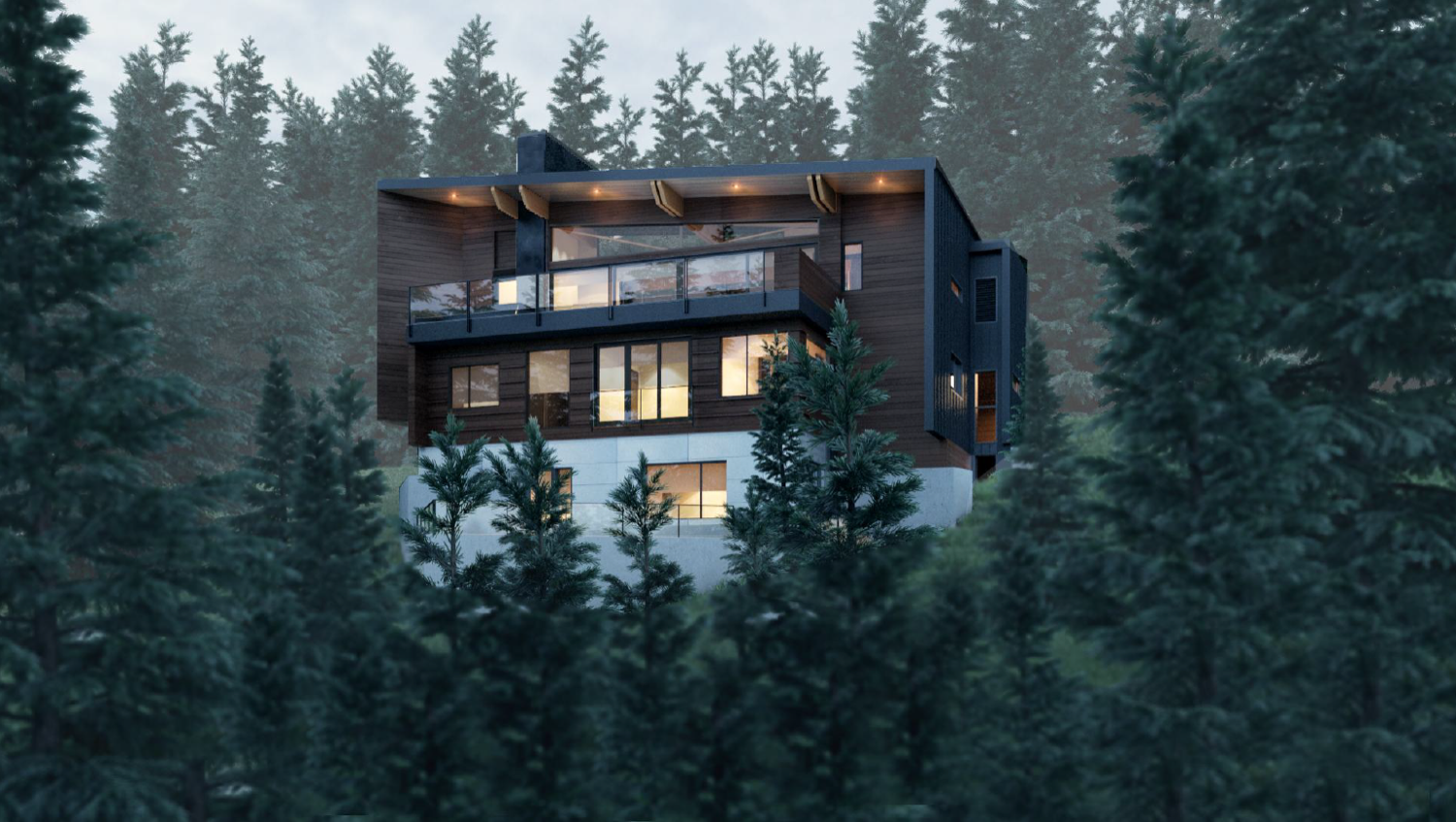 Whistler Custom Home by Coast Construction. View of tree top lane.