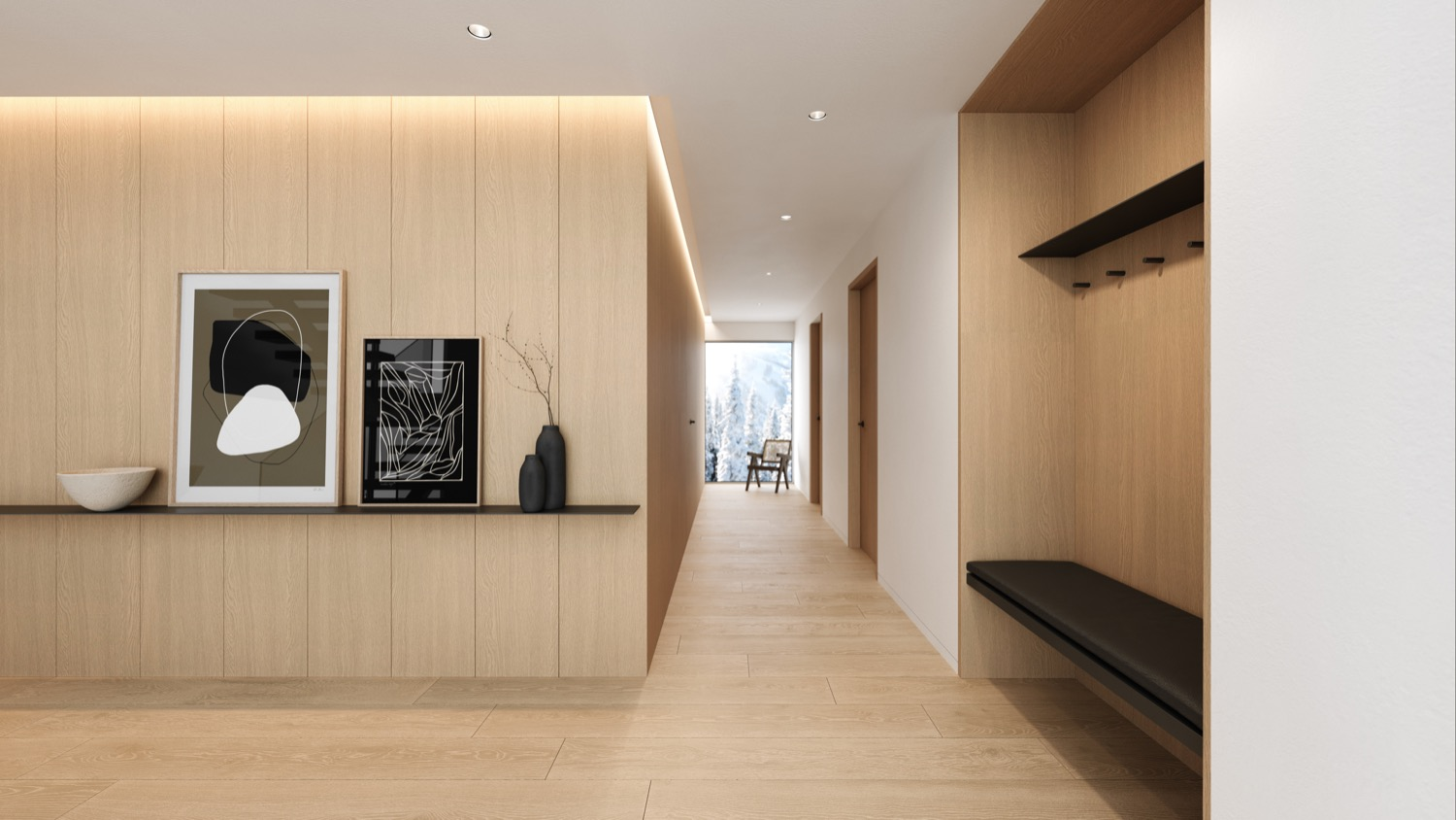 Whistler Custom Home by Coast-Construction. View of the Entry Hall of Treetop Lane.